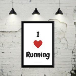 "Gratis plakat med teksten""I love running"""
