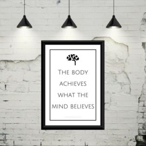"Gratis plakat med teksten ""The body achieves, what the mind believes"""